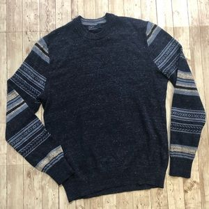 Gap Knit Crewneck Sweater with Patterned Sleeve